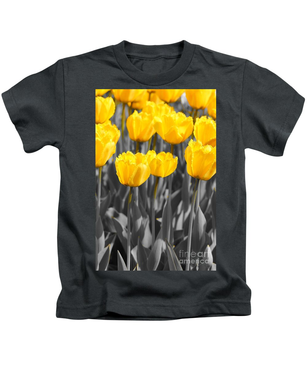 Yellow Tulips Kids T-Shirt featuring the photograph Yellow Tulips by Jeffery L Bowers