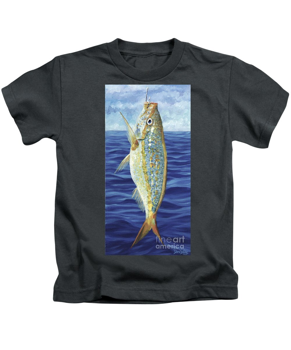 Snapper Kids T-Shirt featuring the painting Yellowtail On The Menu by Danielle Perry