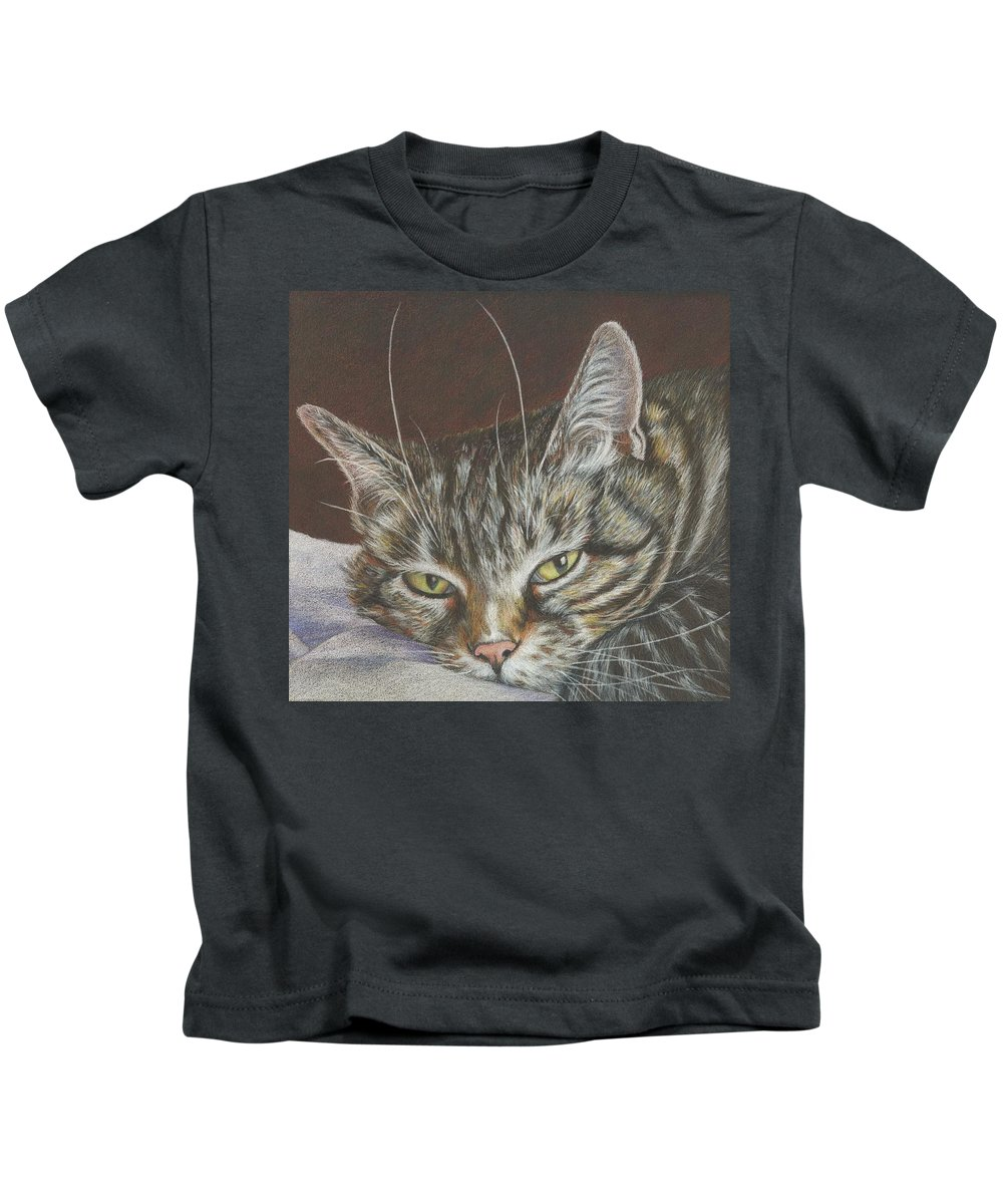 Cat Kids T-Shirt featuring the drawing You Called by Charne Gooch