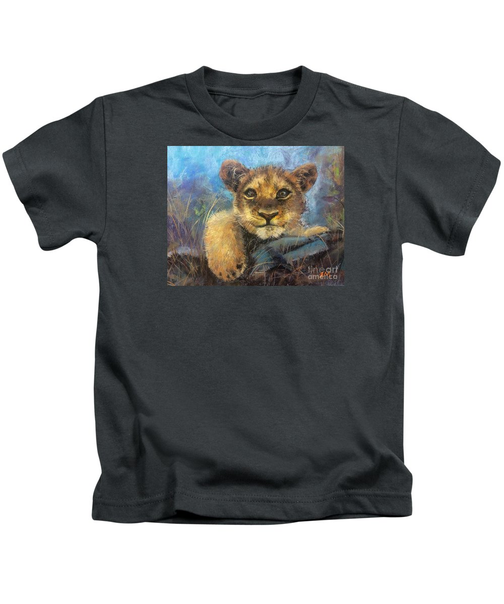 Young Lion Kids T-Shirt featuring the painting Young Lion by Jieming Wang