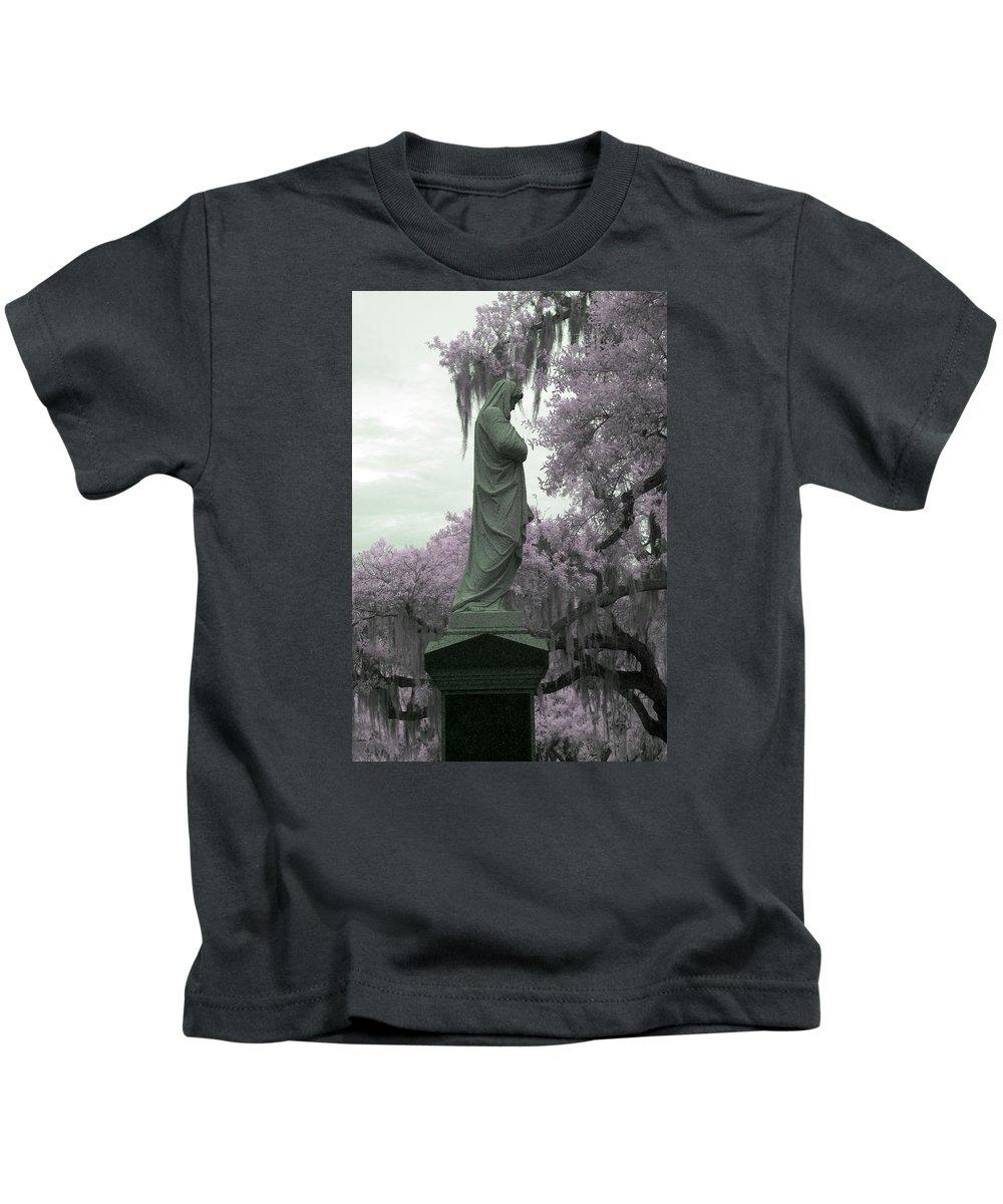 Near Kids T-Shirt featuring the photograph Ziba King Memorial Statue Side View Florida Usa Near Infrared Gr by Sally Rockefeller
