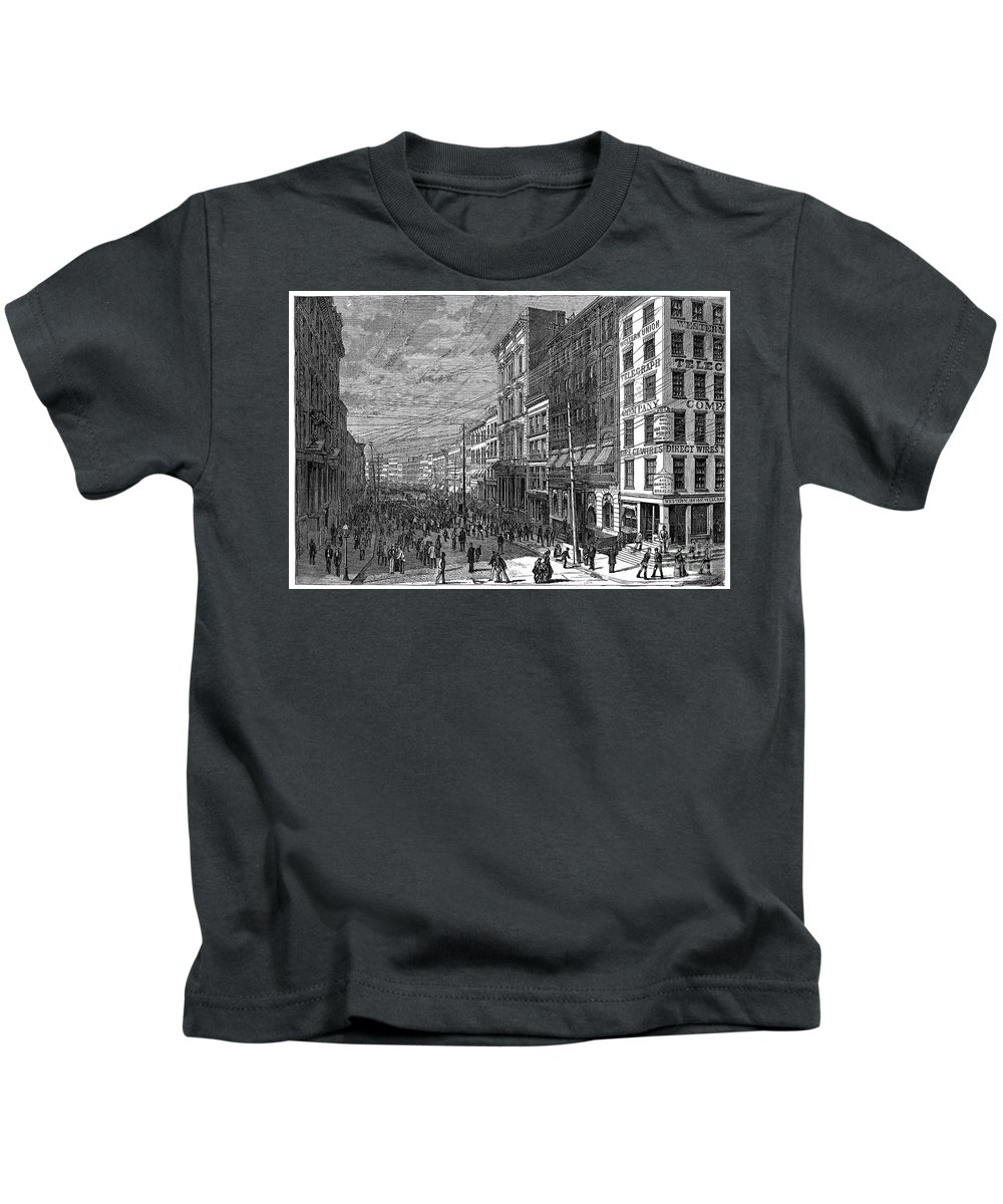 1873 Kids T-Shirt featuring the photograph Bank Panic, 1873 by Granger