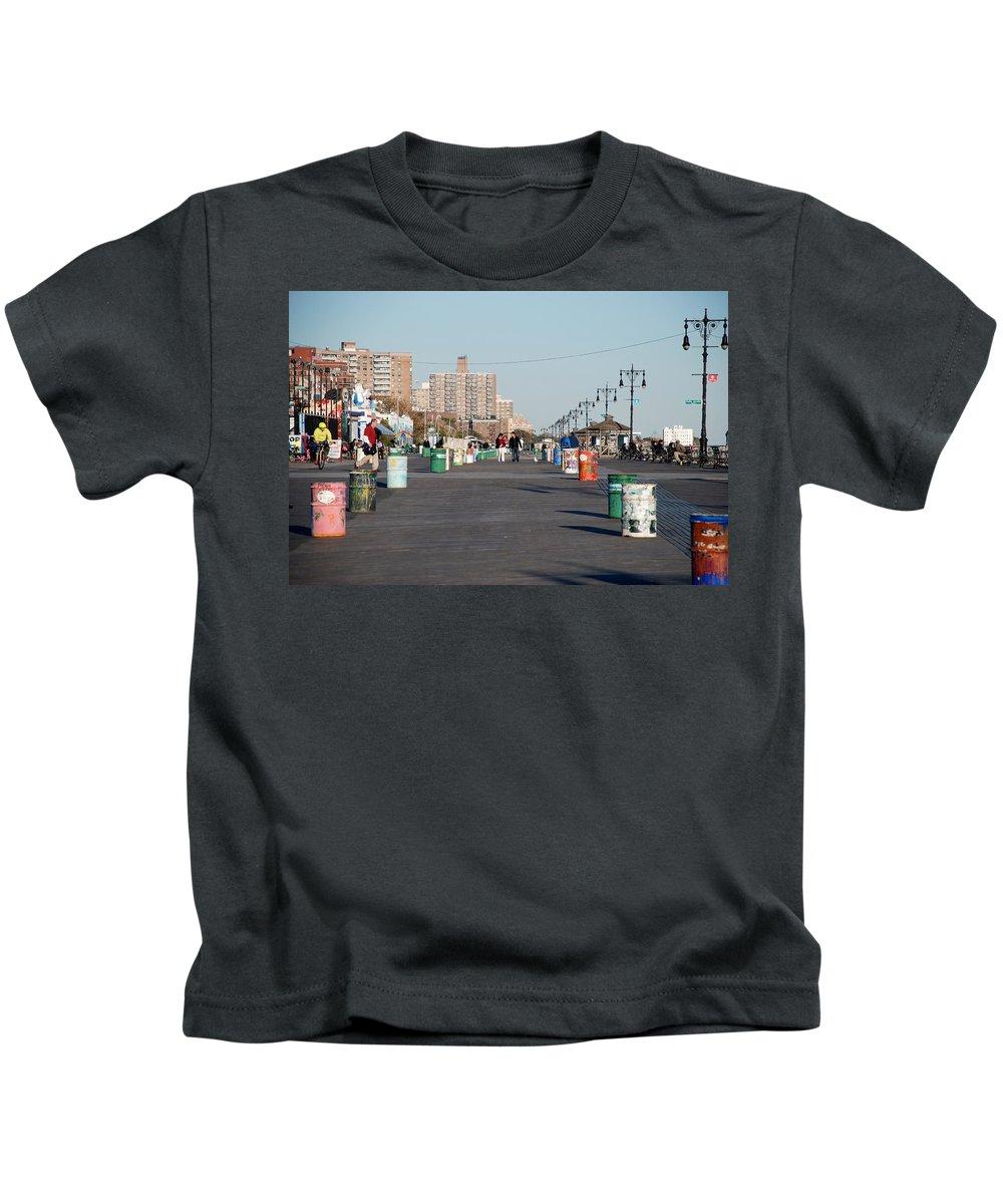 Brooklyn Kids T-Shirt featuring the photograph Coney Island Boardwalk by Rob Hans