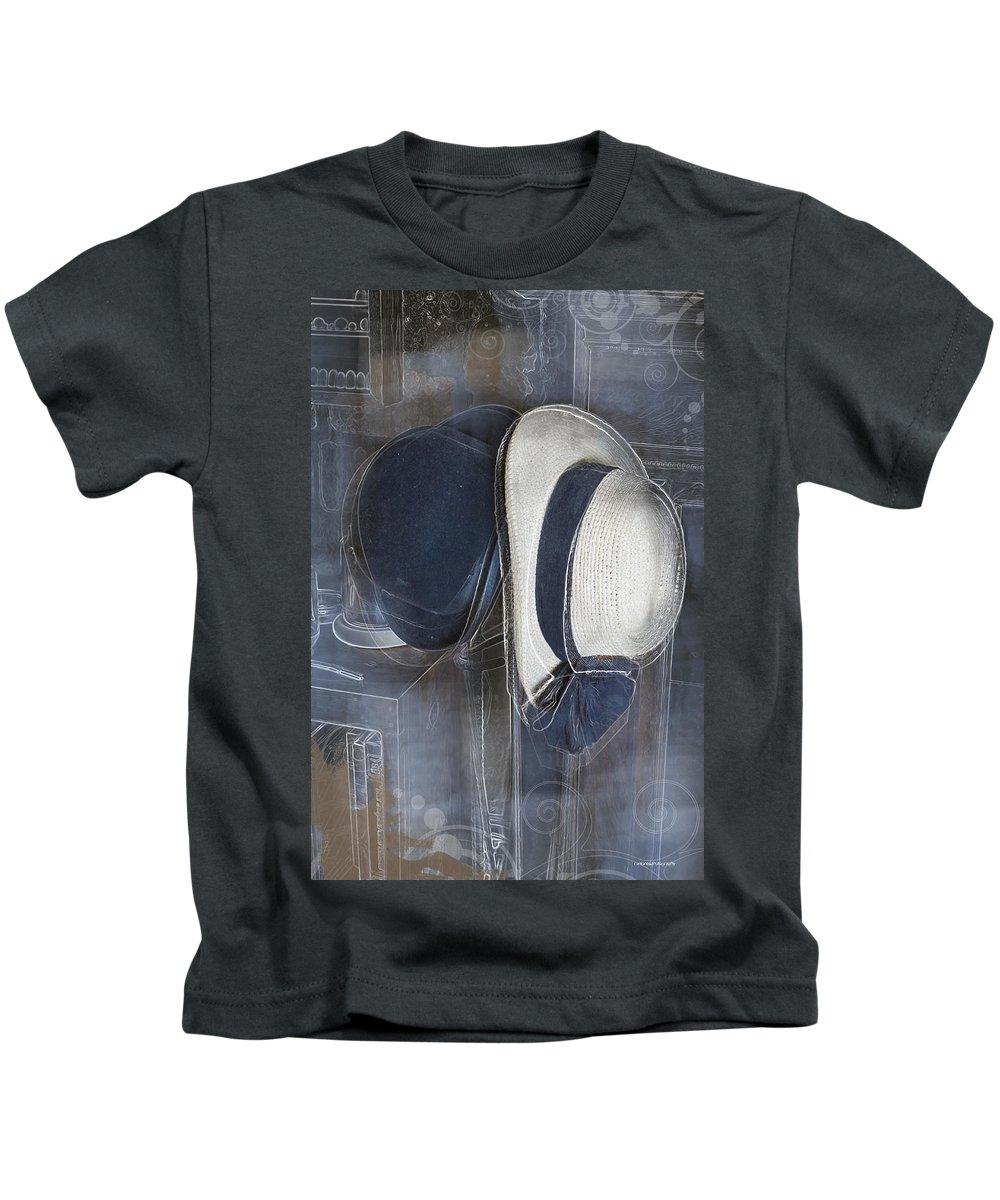 Ron Jones Kids T-Shirt featuring the digital art Deux Chapeaux by Ron Jones
