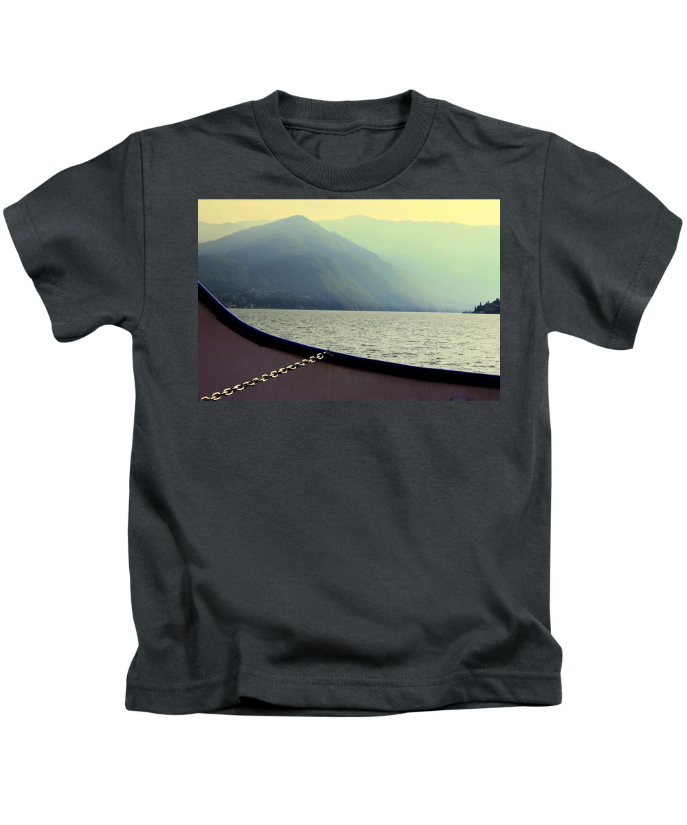 Haze Kids T-Shirt featuring the photograph Lake Of Como by Valentino Visentini