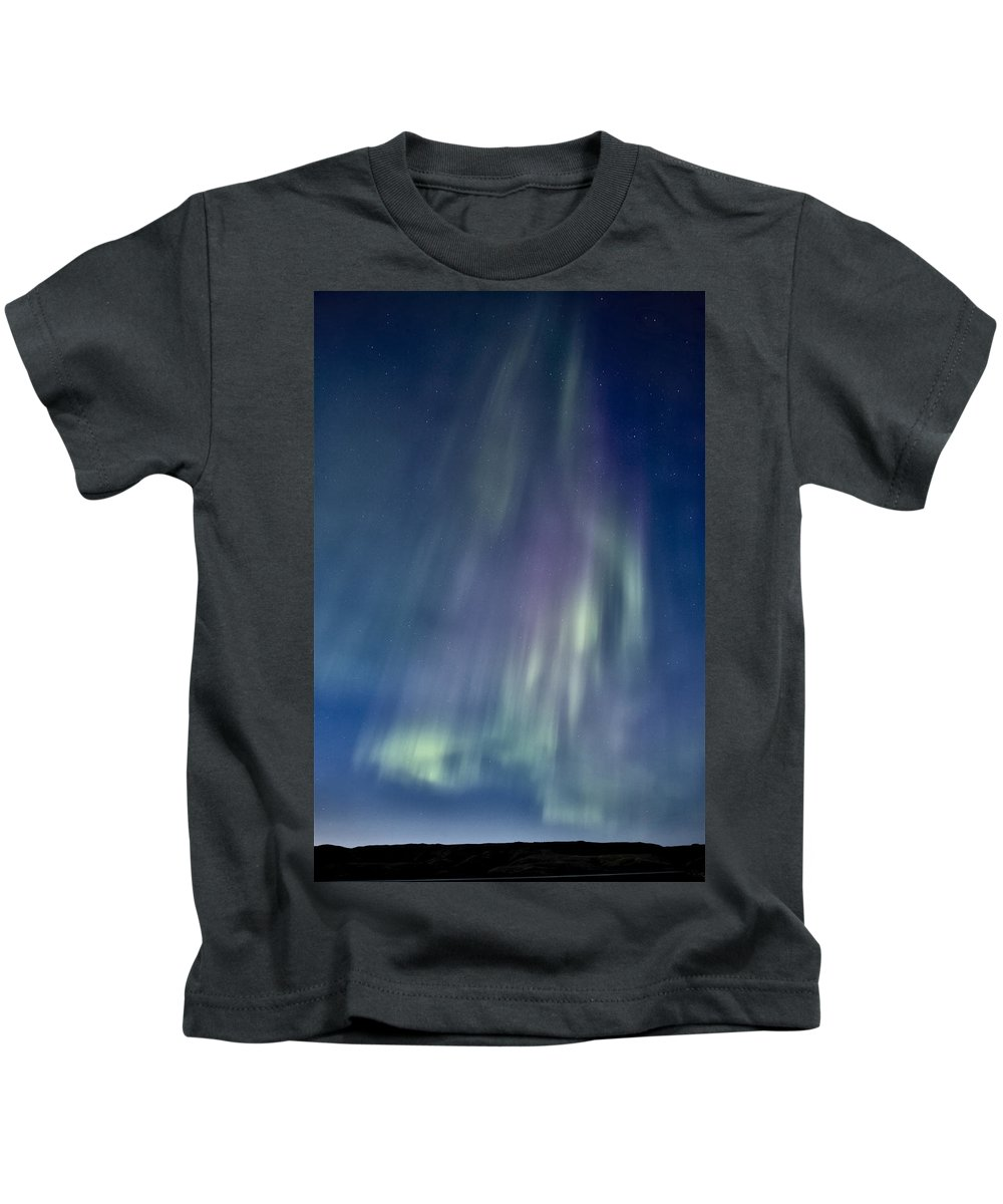 Aurora Kids T-Shirt featuring the digital art Northern Lights Over Canadian Lake by Mark Duffy