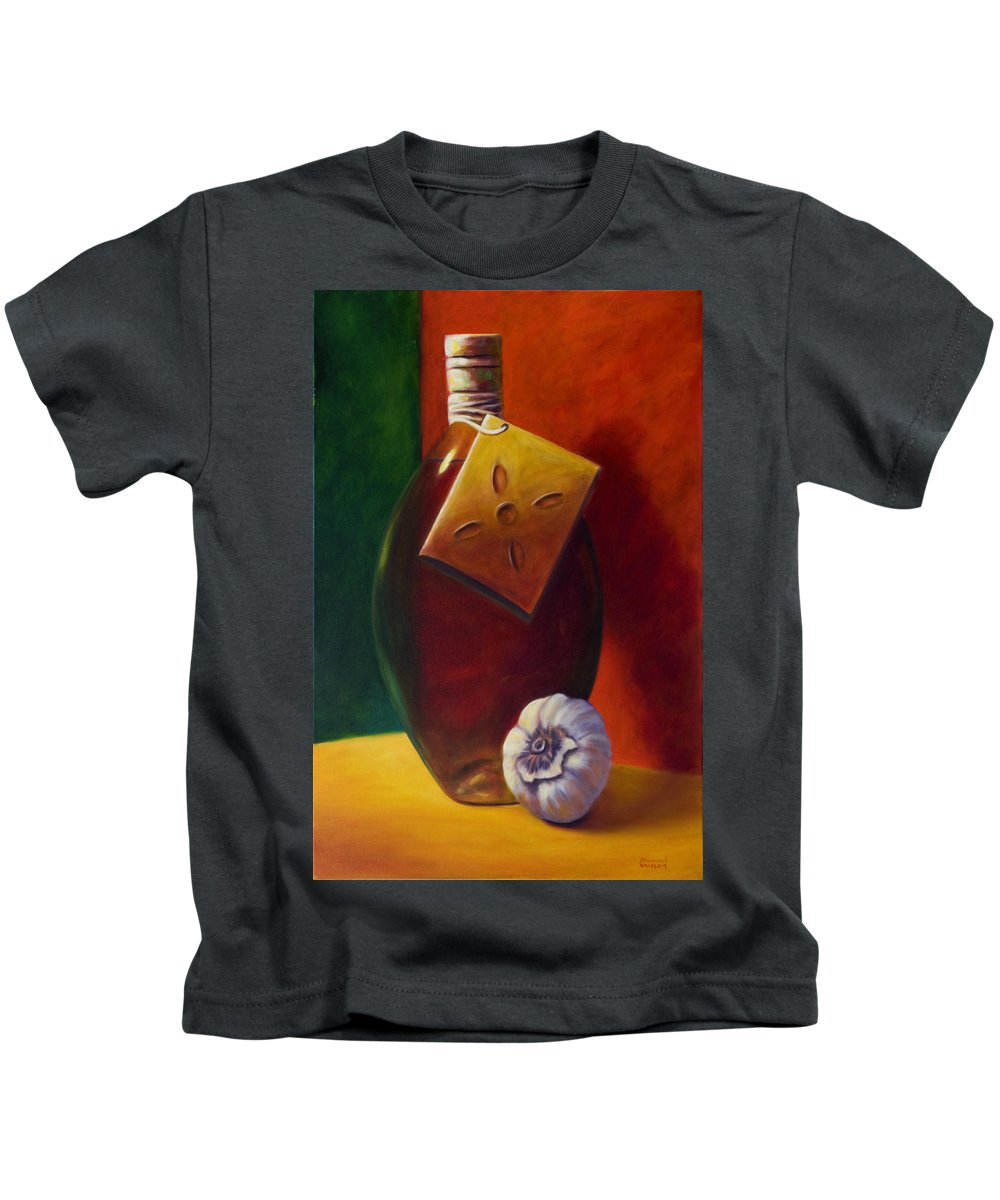 Olive Oil Kids T-Shirt featuring the painting Oil and Garlic by Shannon Grissom