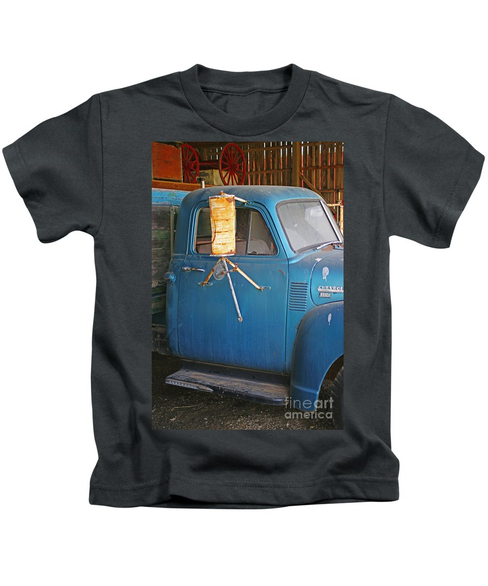 Cars Kids T-Shirt featuring the photograph Old Blue Farm Truck by Randy Harris