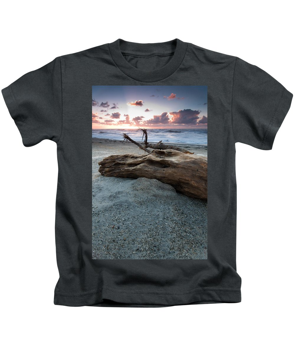 Beach Kids T-Shirt featuring the photograph Old Tree Trunk On A Beach by U Schade