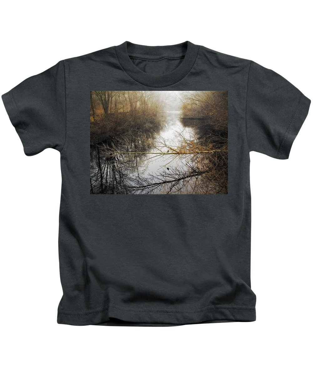 Landscape Kids T-Shirt featuring the photograph River In The Fog by Fran Gallogly