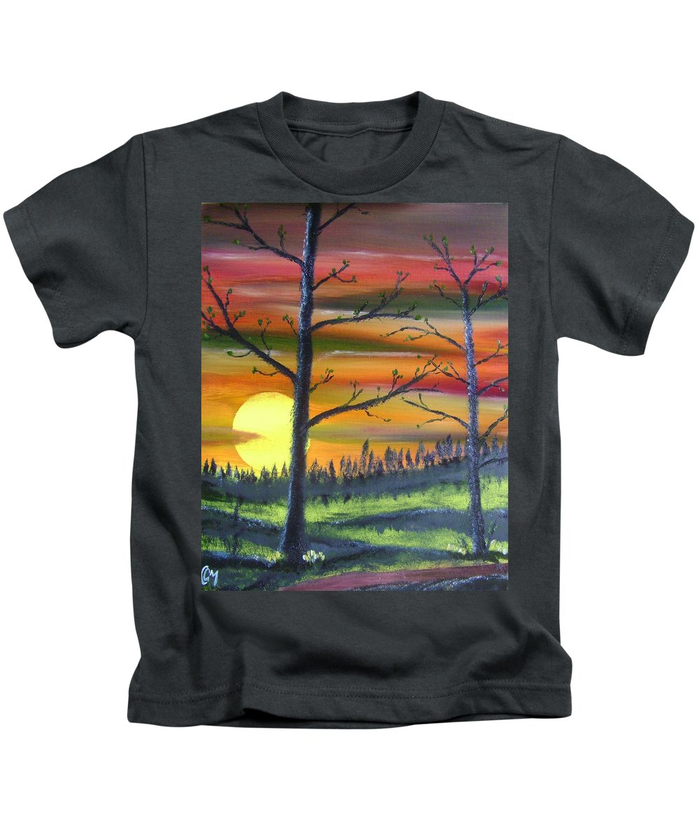Spring Kids T-Shirt featuring the painting Spring Sunrise by Charles and Melisa Morrison