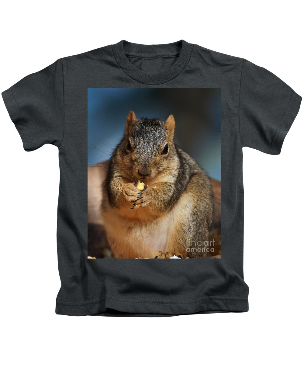Squirrel Kids T-Shirt featuring the photograph Squirrel Eating Corn by Lori Tordsen
