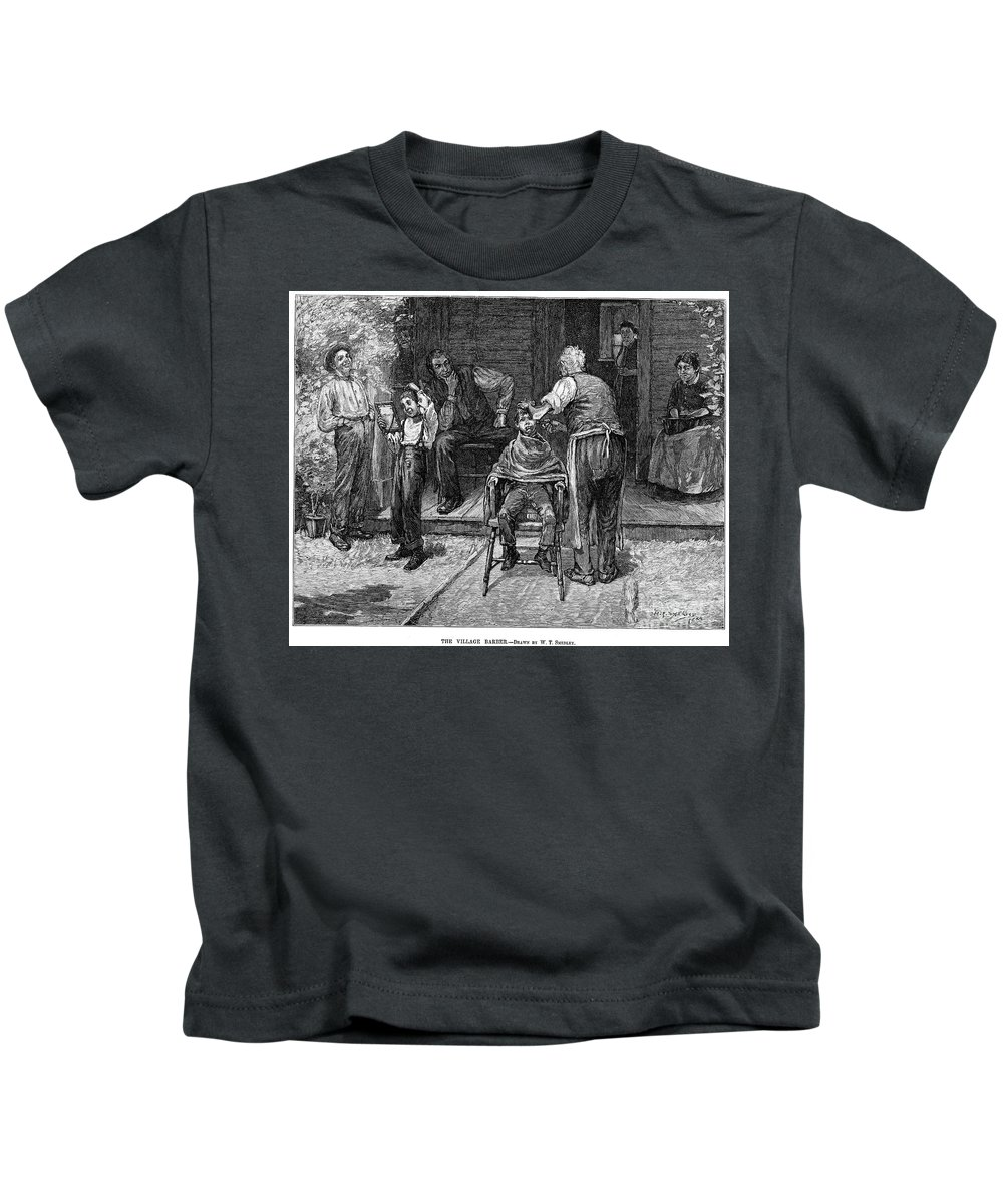 1883 Kids T-Shirt featuring the photograph The Village Barber, 1883 by Granger