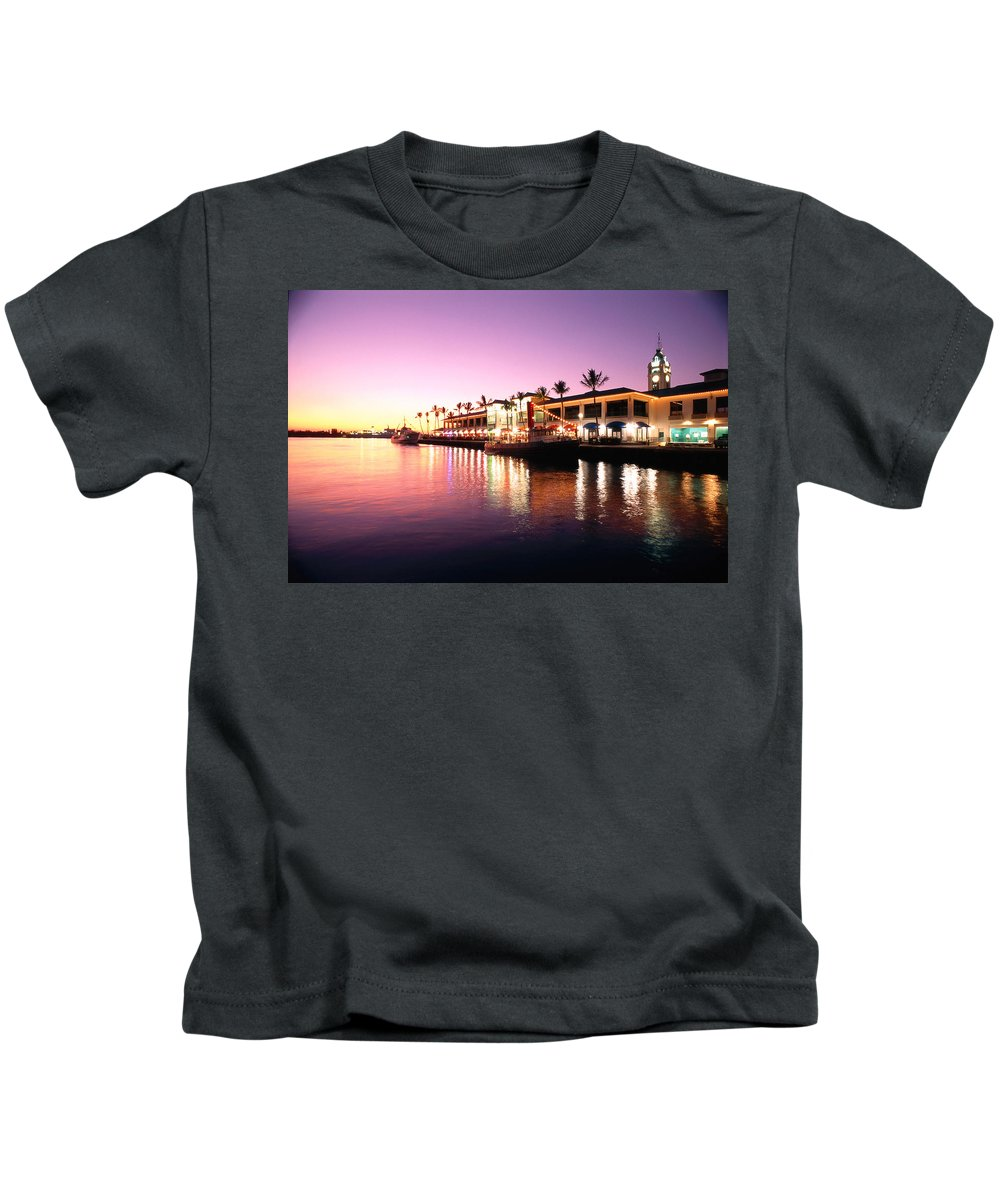 Afternoon Kids T-Shirt featuring the photograph View Of Aloha Tower by Carl Shaneff - Printscapes