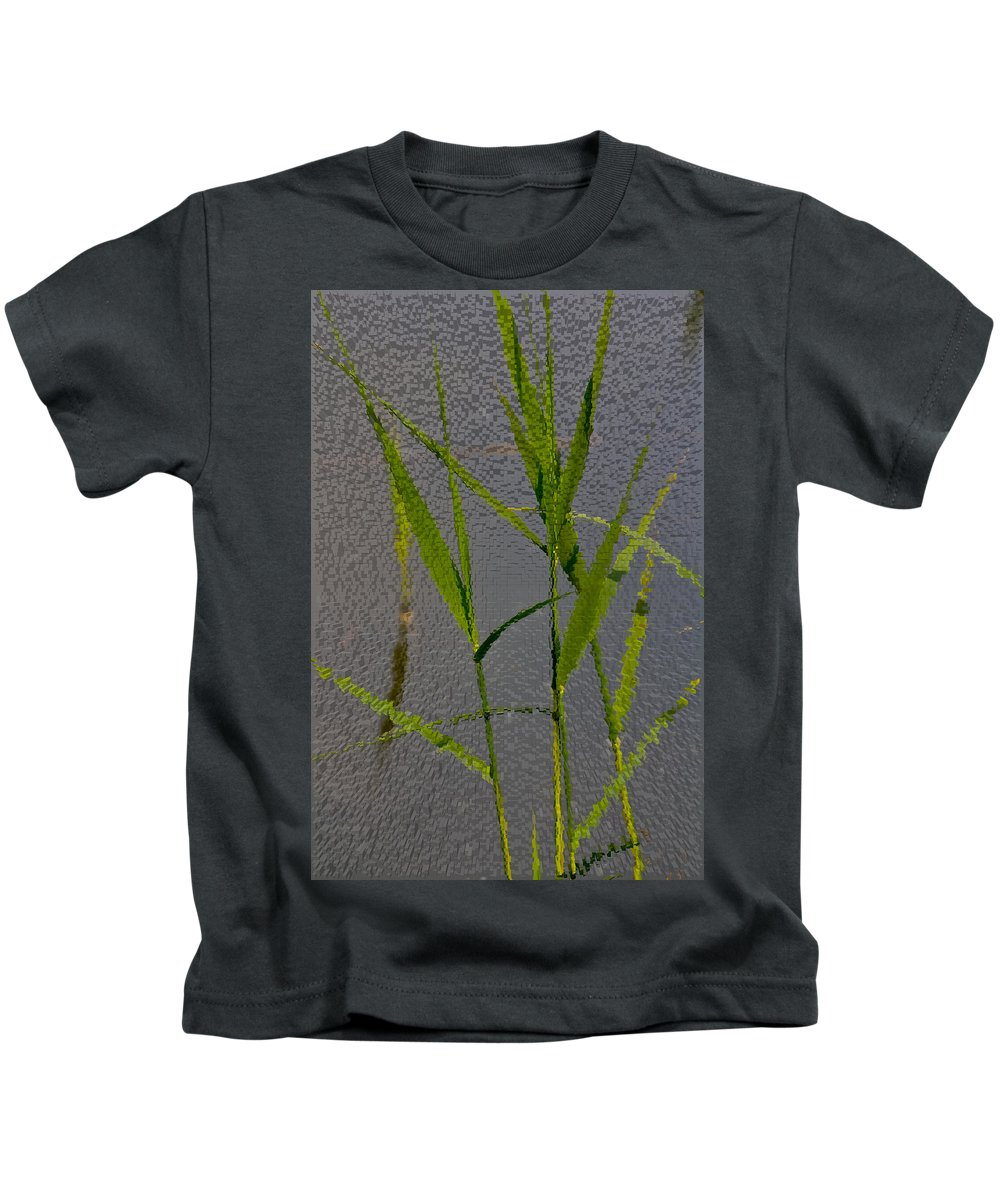 Art Kids T-Shirt featuring the digital art Water Reed Digital Art by David Pyatt