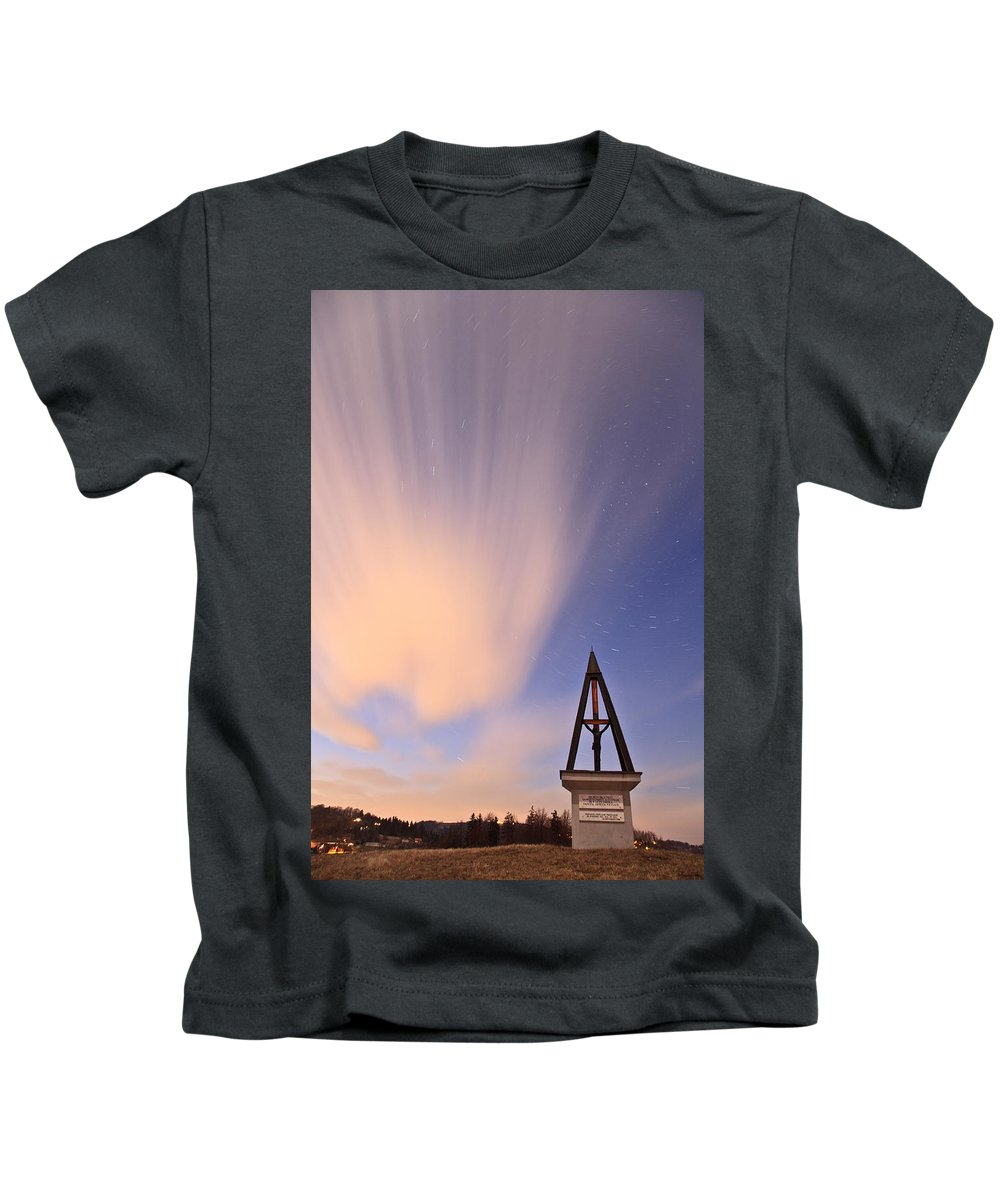 Startrails Kids T-Shirt featuring the photograph Against The Stars by Ian Middleton