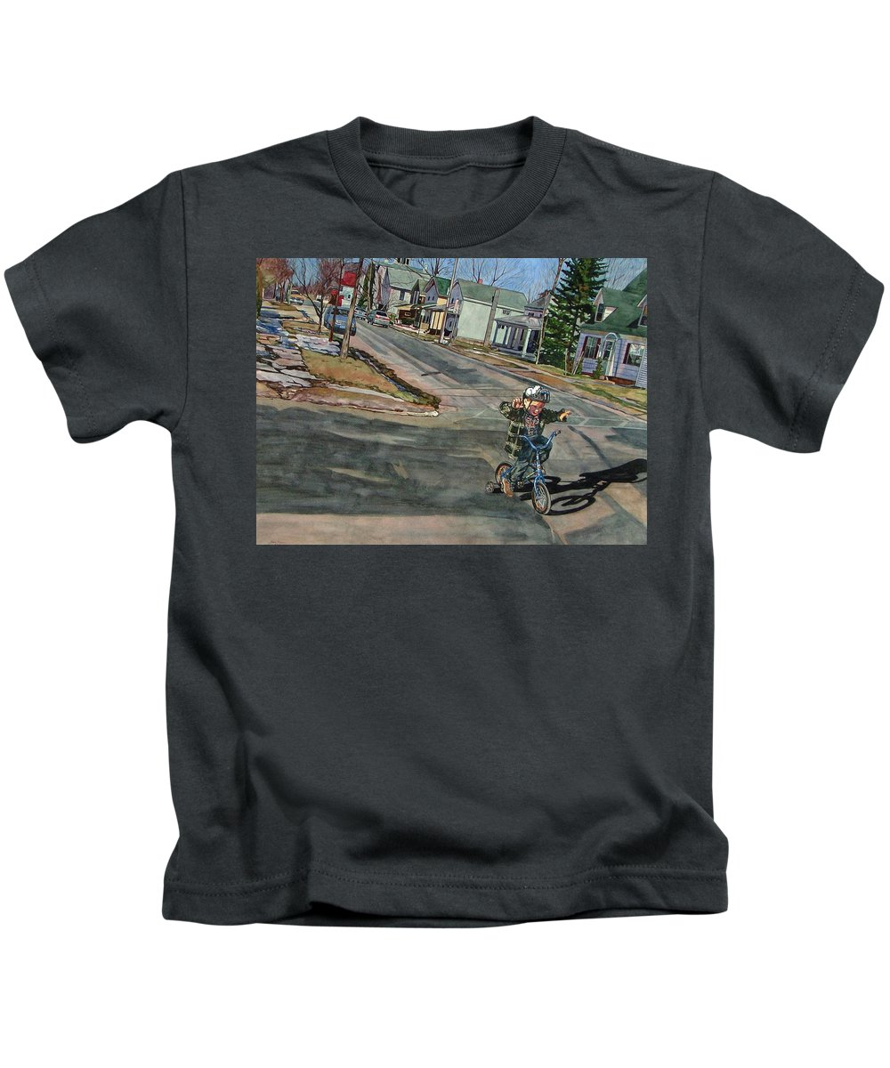No Hands Kids T-Shirt featuring the painting No Hands by Valerie Patterson