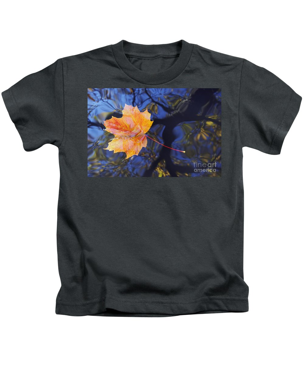 Leaf Kids T-Shirt featuring the photograph Autumn Leaf On The Water by Michal Boubin