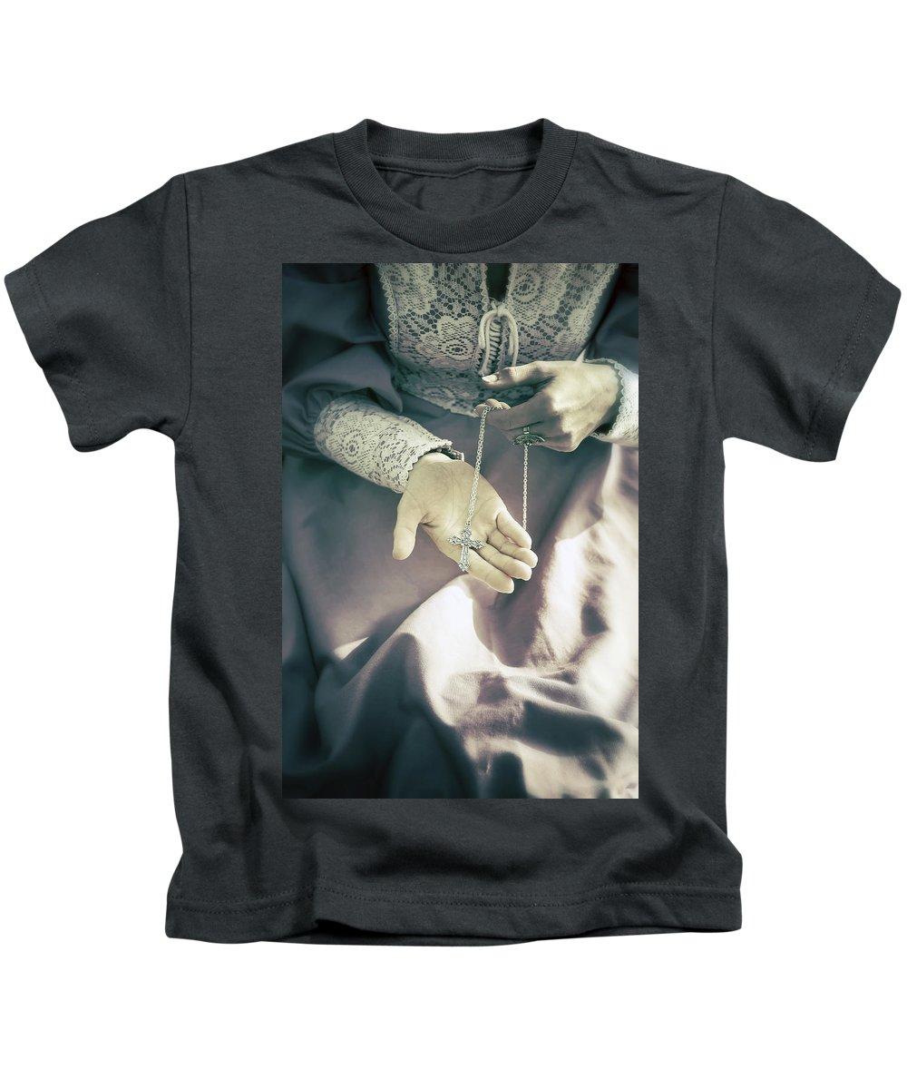 Woman Kids T-Shirt featuring the photograph Crucifix by Joana Kruse