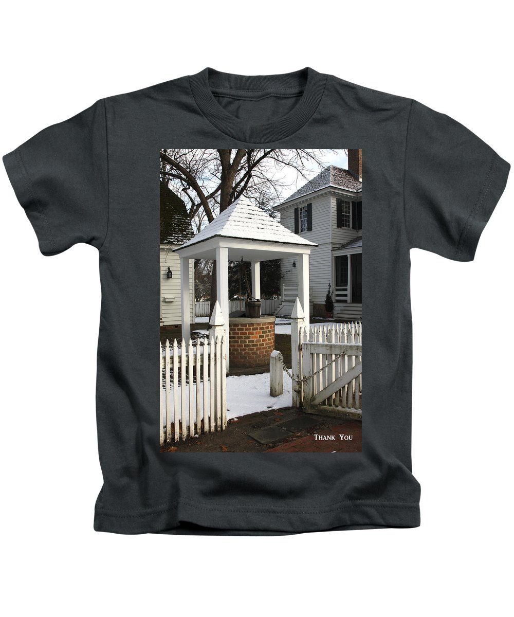 Brick Well Kids T-Shirt featuring the photograph Thank You by Sally Weigand