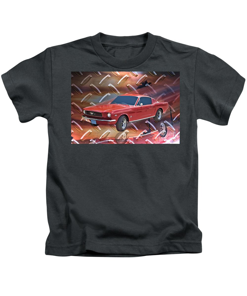 1966 Kids T-Shirt featuring the digital art 66 Fastback by Tommy Anderson