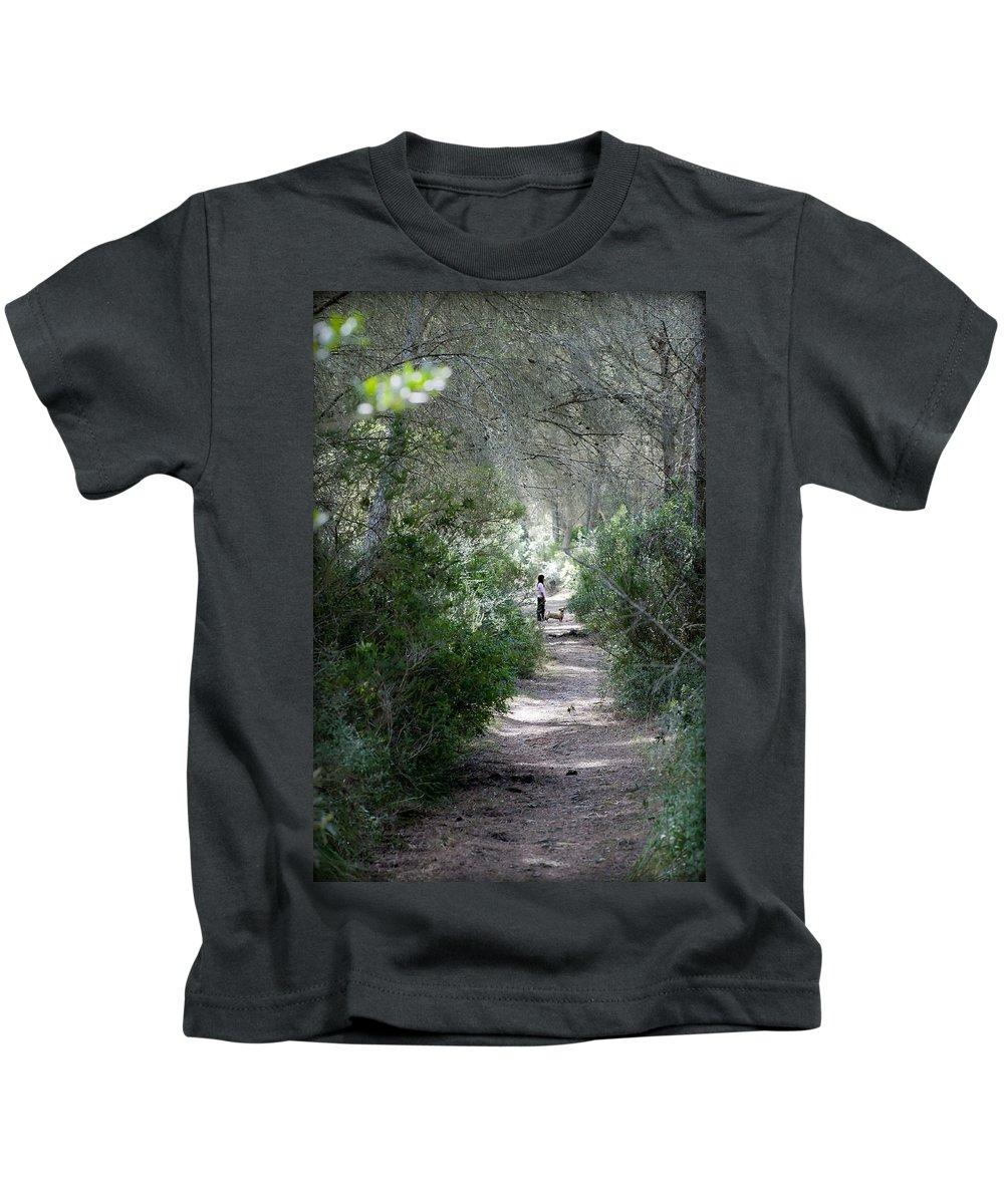 Menorca Kids T-Shirt featuring the photograph a walk about fairy wood - Mediterranean autumn forest by Pedro Cardona Llambias