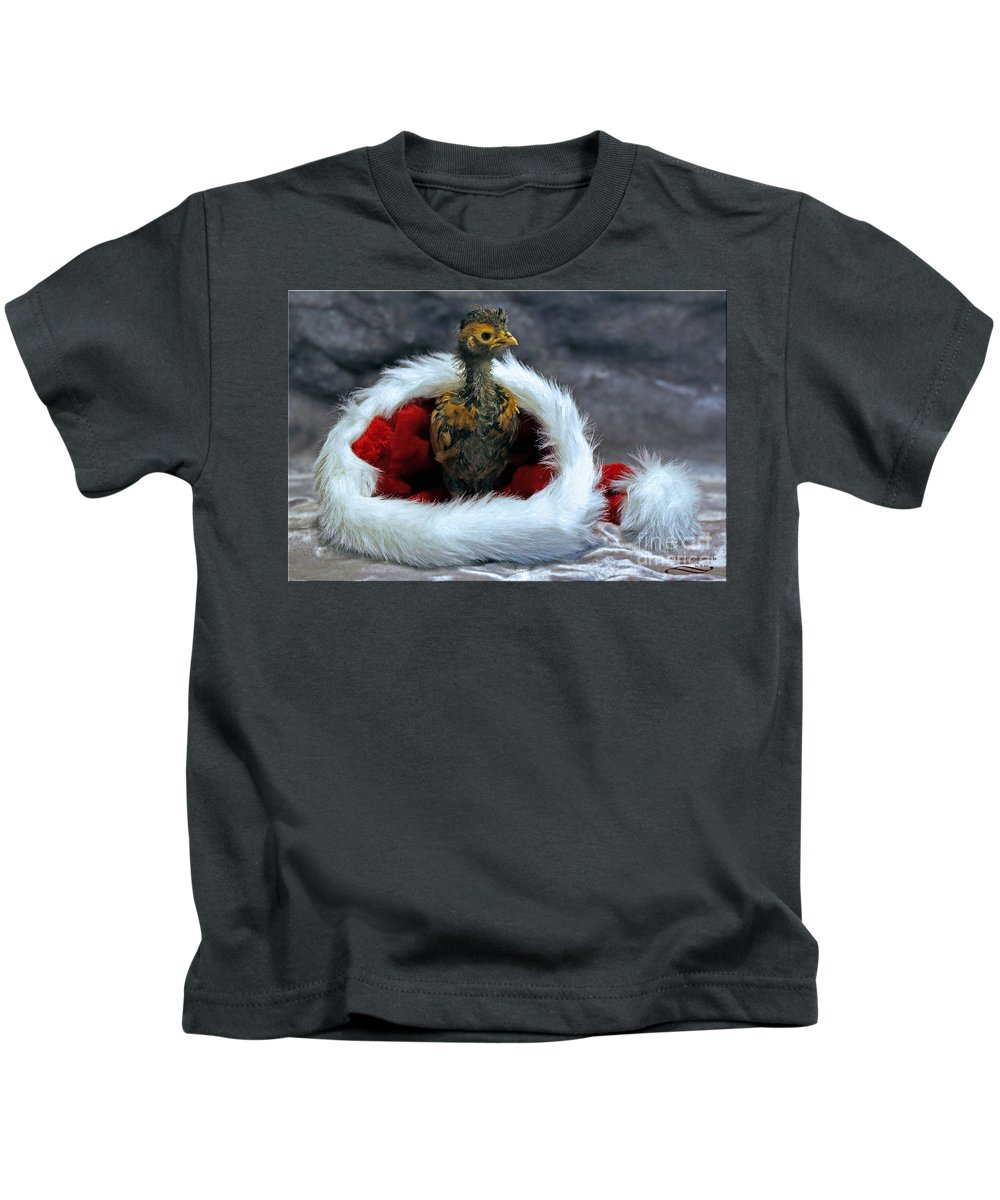 Chicken Kids T-Shirt featuring the photograph All I Want For Christmas by Rebecca Morgan