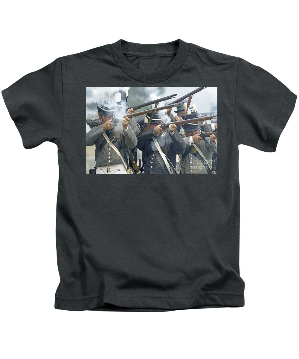 War Of 1812 Kids T-Shirt featuring the photograph American Infantry Firing by JT Lewis