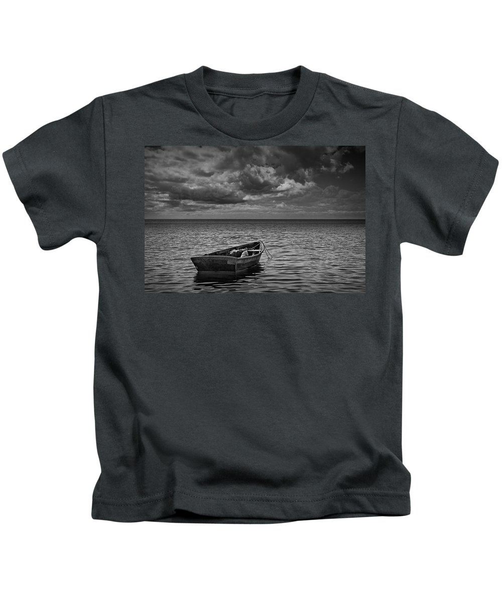 Art Kids T-Shirt featuring the photograph Anchored Row Boat Looking Out To Sea by Randall Nyhof