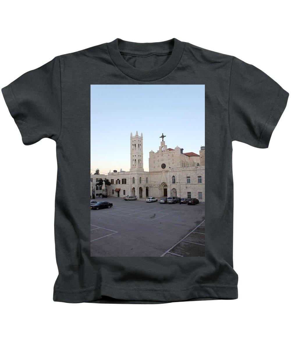 Annunciation Kids T-Shirt featuring the photograph Annunciation Latin Church In Beit Jala by Munir Alawi