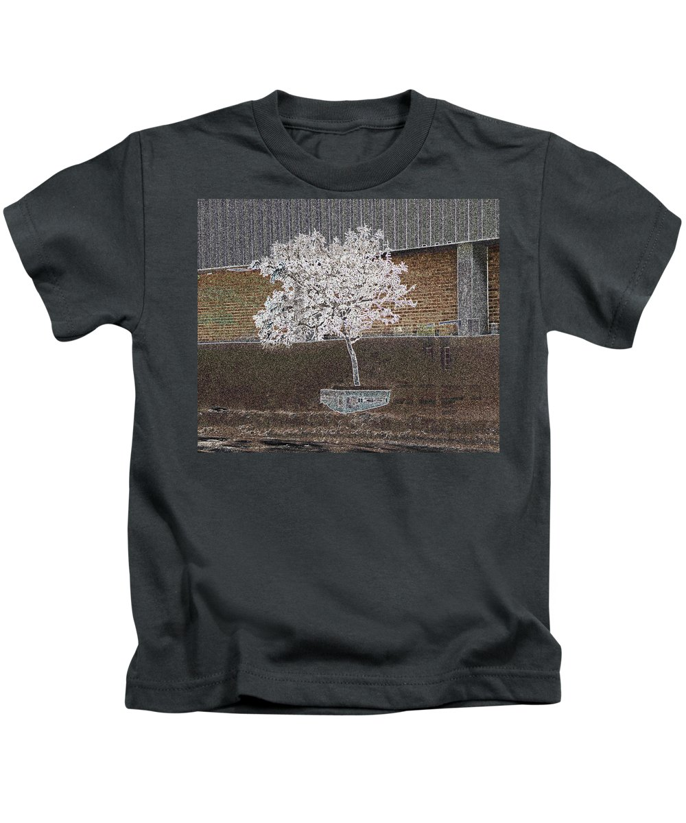 Abstract Kids T-Shirt featuring the photograph Another View From The Bus Station by Lenore Senior