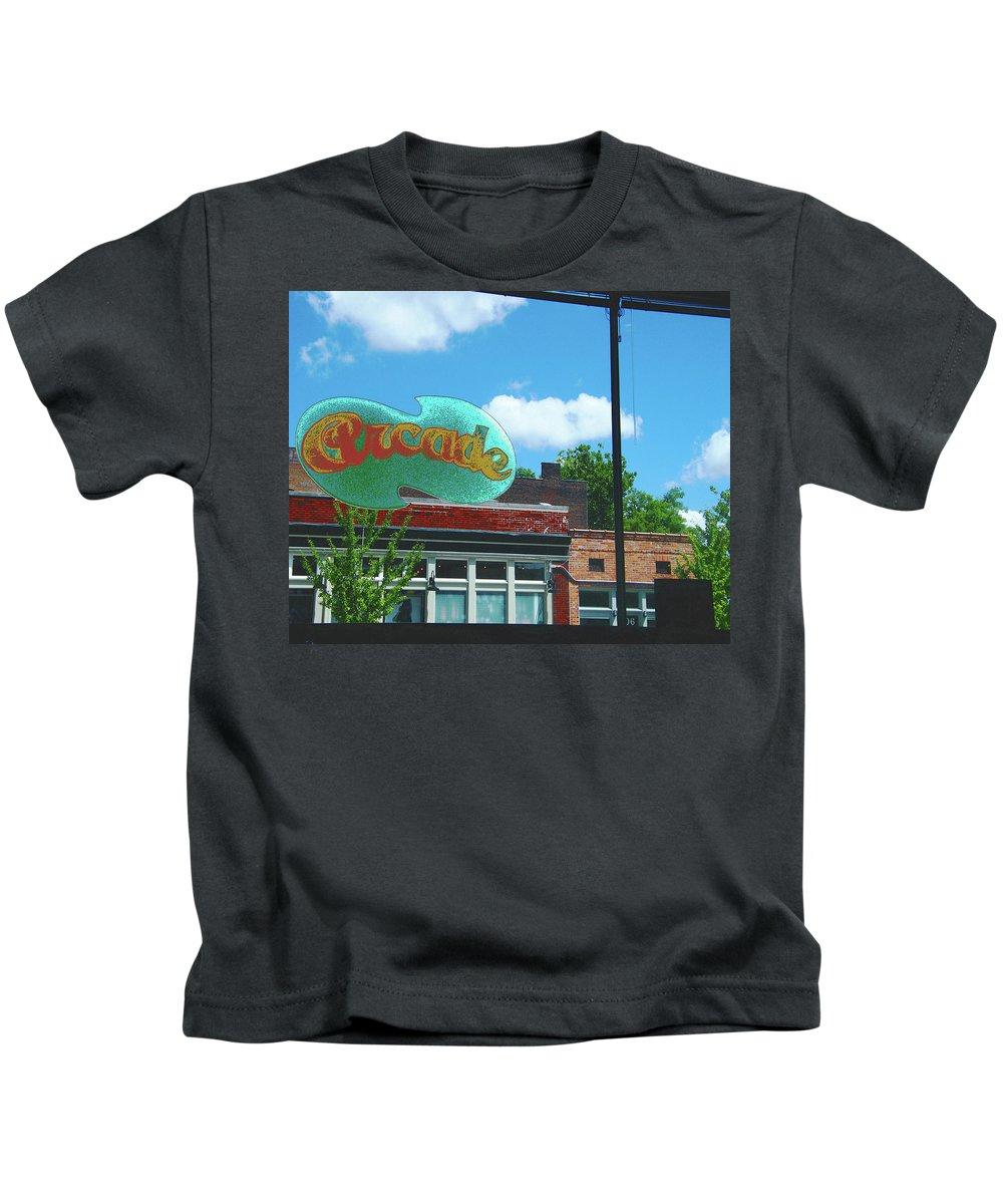 Arcade Kids T-Shirt featuring the digital art Arcade Restaurant Memphis by Lizi Beard-Ward
