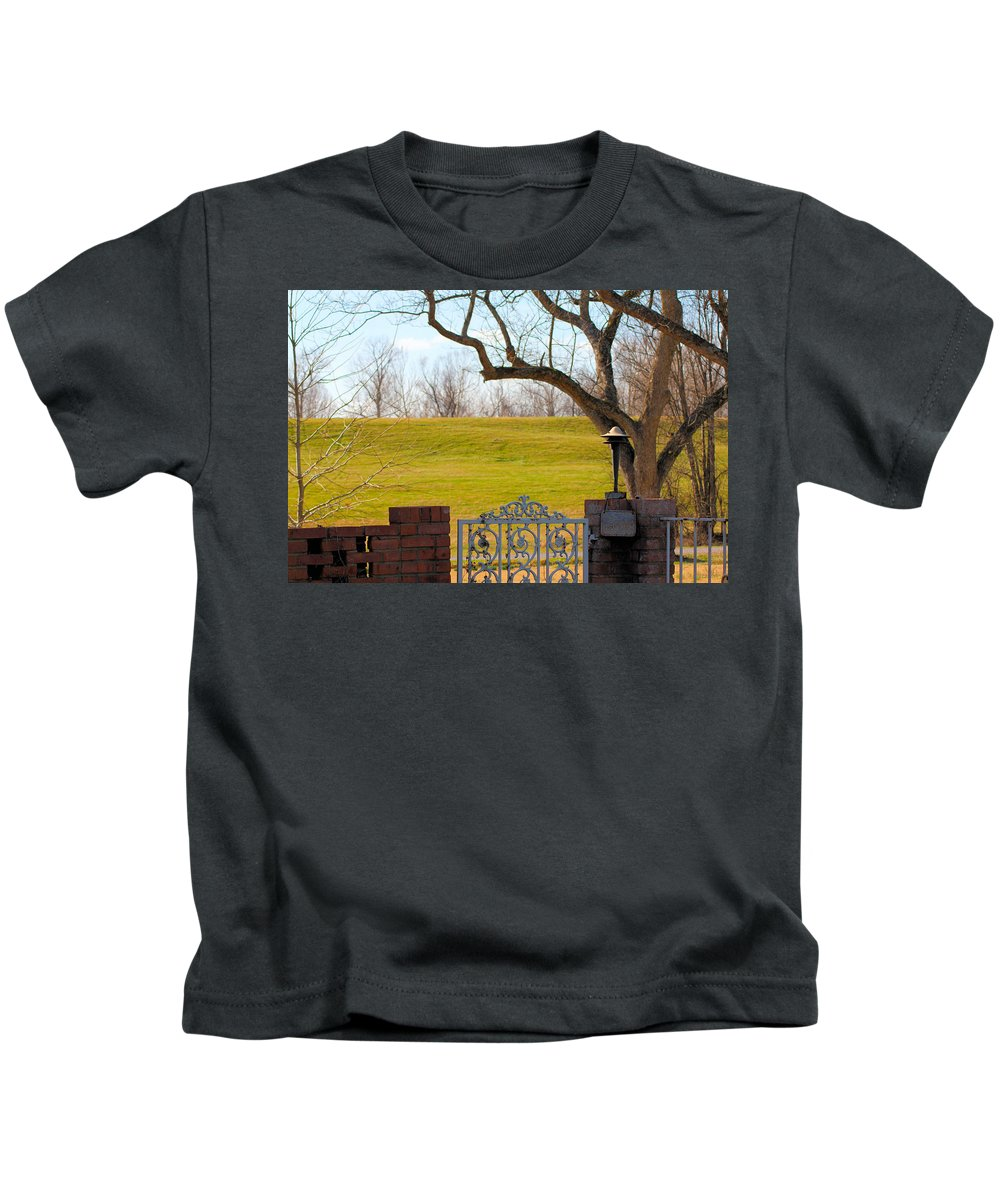 Levee Kids T-Shirt featuring the photograph At The Levee by Karen Wagner