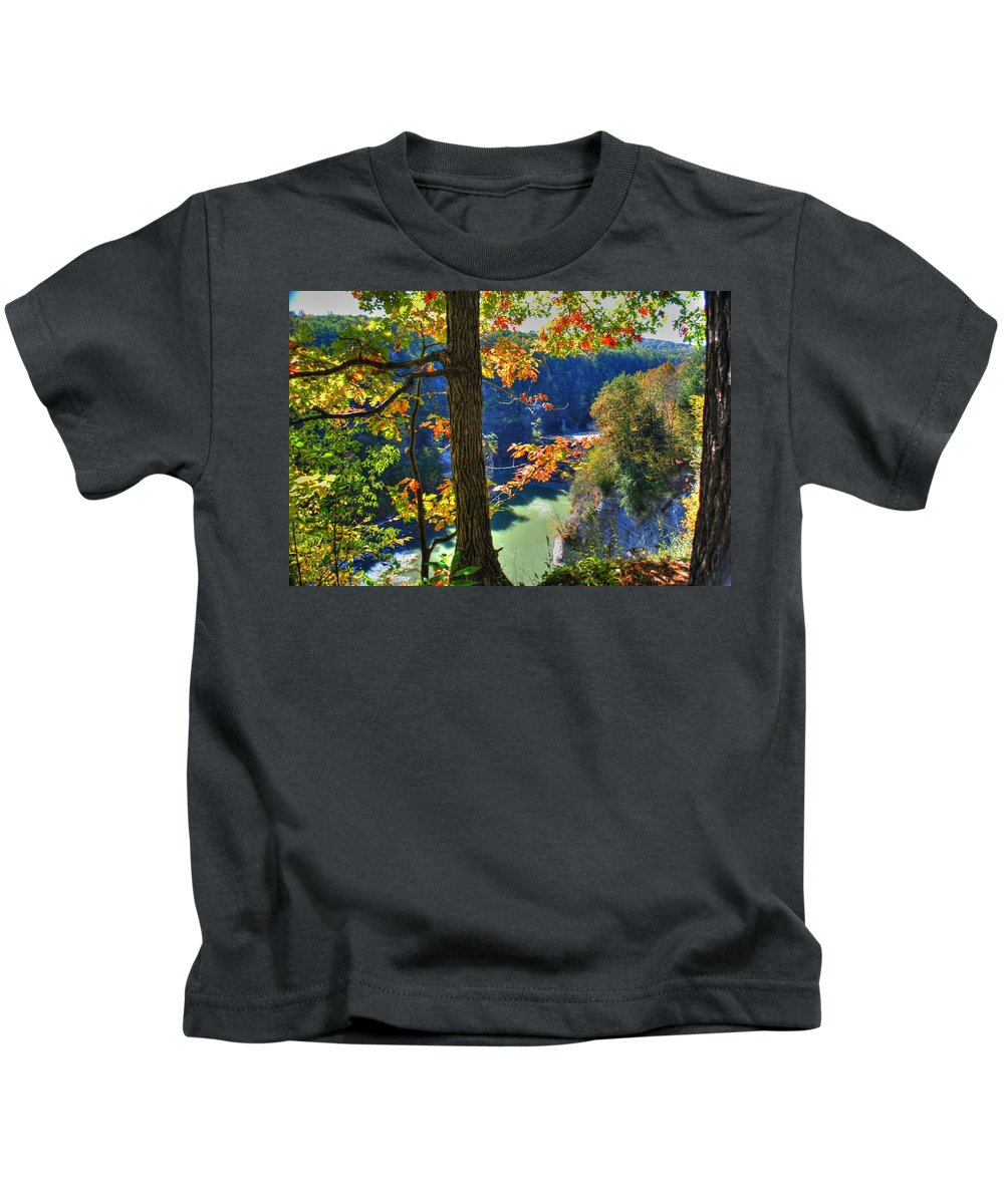 Kids T-Shirt featuring the photograph Autumn At Letchworth State Park by Michael Frank Jr