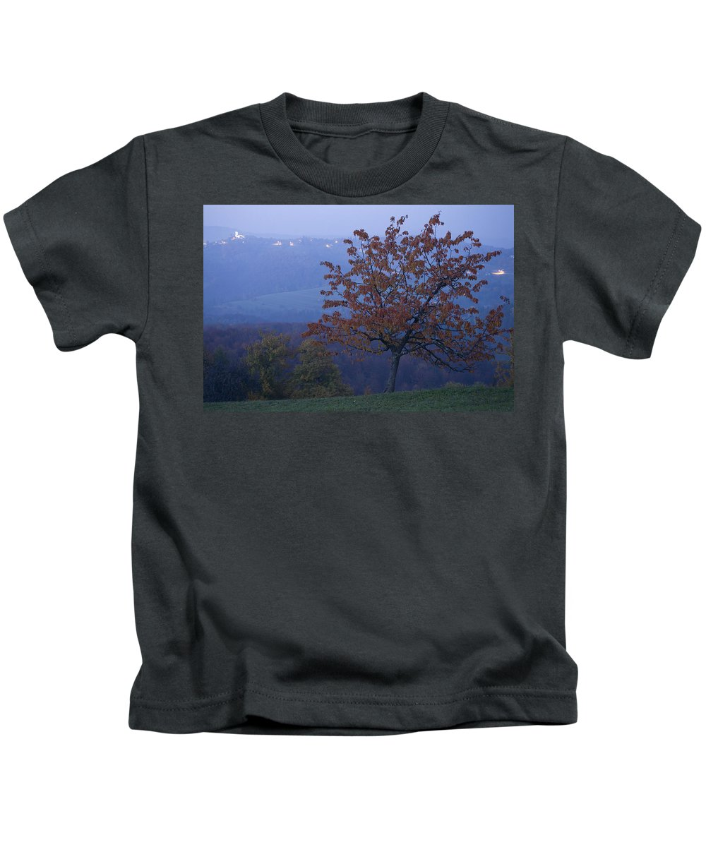 Autumn Kids T-Shirt featuring the photograph Autumn Colour At Dusk by Ian Middleton
