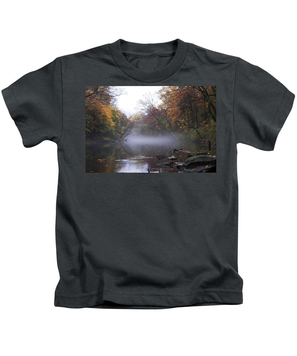 Autumn Morning On The Wissahickon Kids T-Shirt featuring the photograph Autumn Morning On The Wissahickon by Bill Cannon