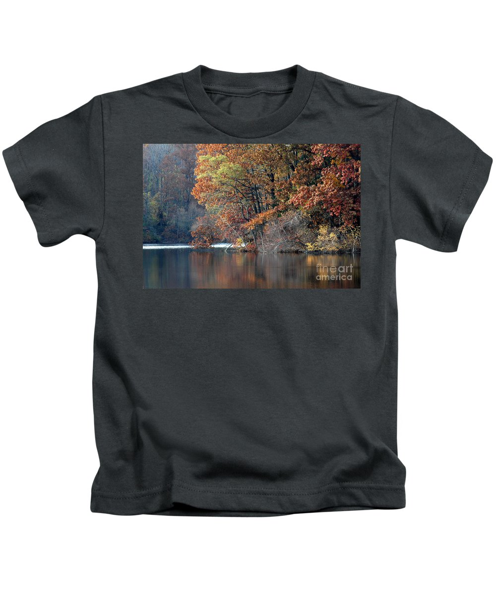 Autumn Kids T-Shirt featuring the photograph Autumn Pond Reflections by Mike Nellums