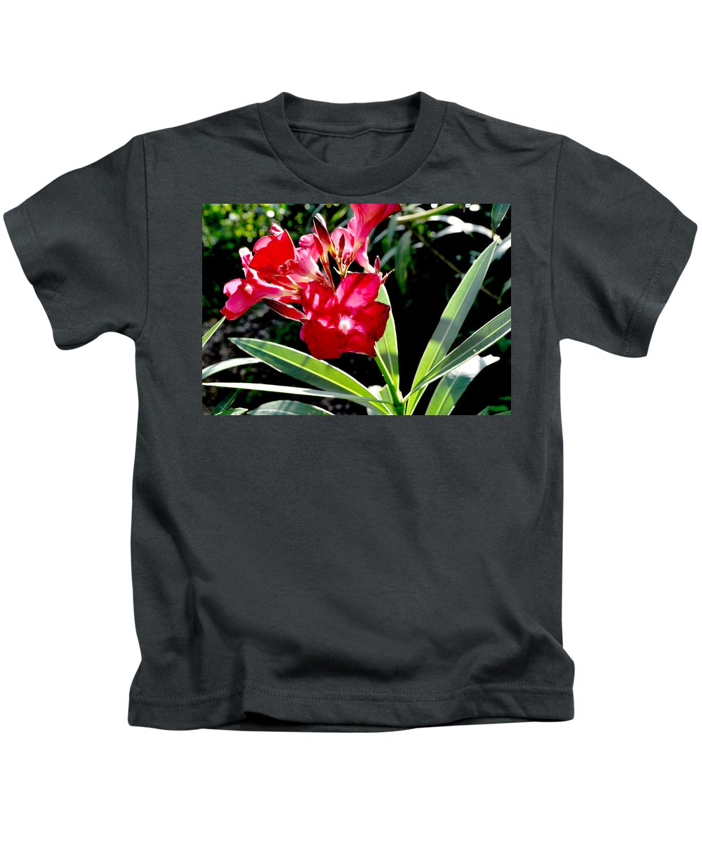 Red Kids T-Shirt featuring the photograph Backyard Red Beauty by Mickey Krause
