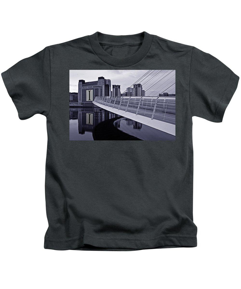 Gateshead Millennium Bridge Kids T-Shirt featuring the photograph Baltic And Gateshead Millennium Bridge by David Pringle