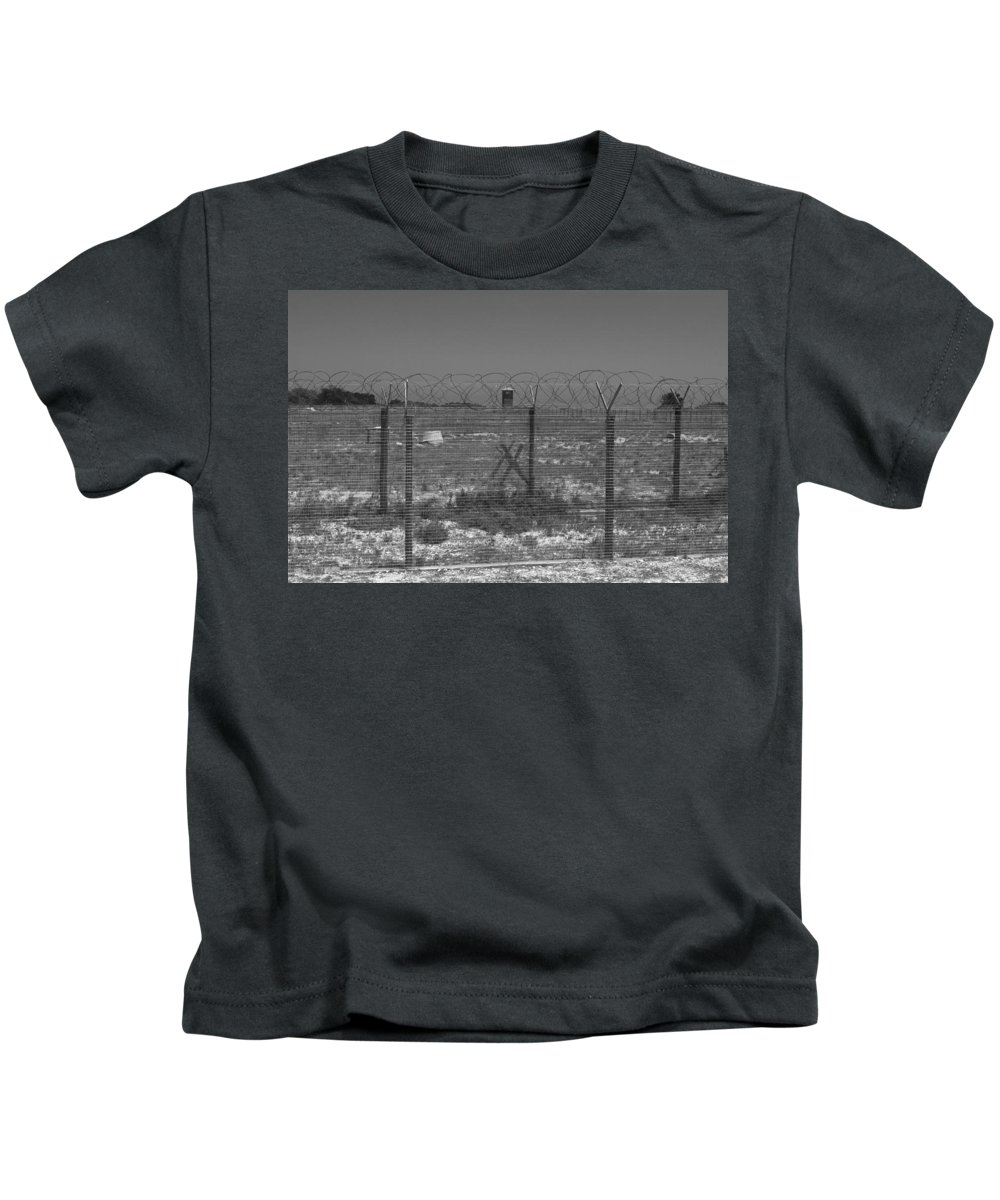 Robben Island Kids T-Shirt featuring the photograph Barbed Wire Fence by Aidan Moran