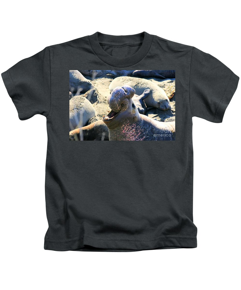 Seals Kids T-Shirt featuring the photograph Barking Bull by Tap On Photo