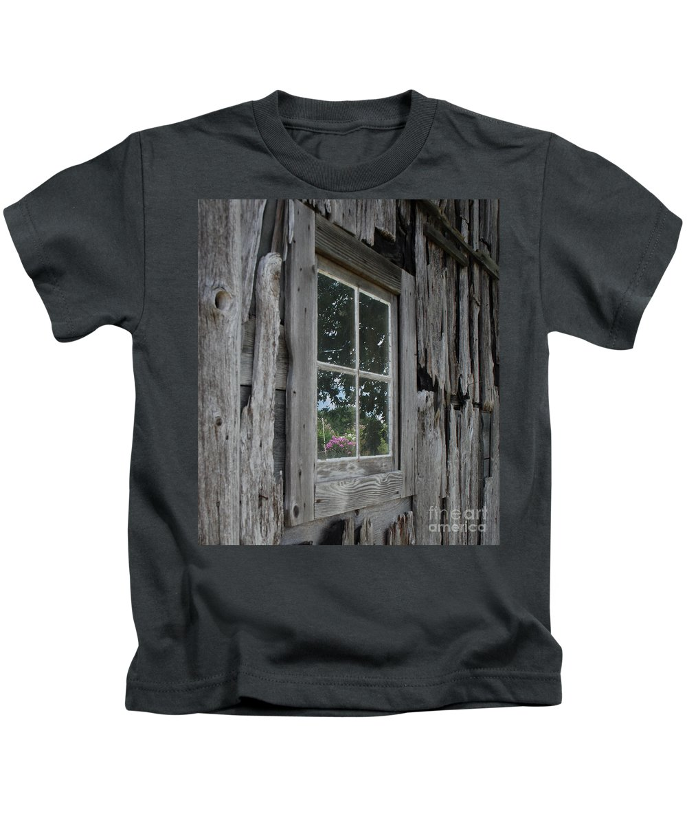 Barn Kids T-Shirt featuring the photograph Barn Window Reflection by Grace Grogan