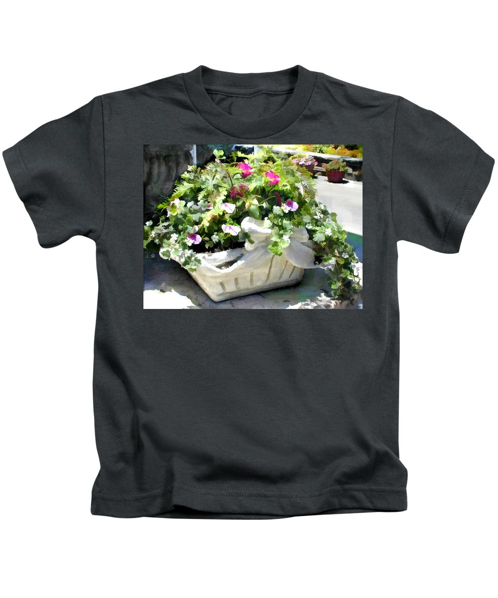 Ivy Kids T-Shirt featuring the painting Basket Of Ivy And Flowers In The Sunshine by Elaine Plesser