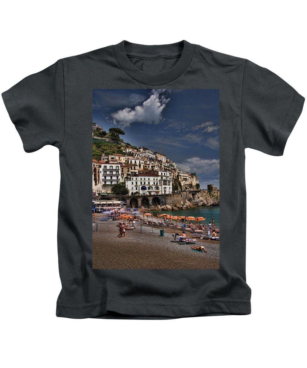 Mediterranean Collection Kids T-Shirt featuring the photograph Beach Scene In Amalfi On The Amalfi Coast In Italy by David Smith