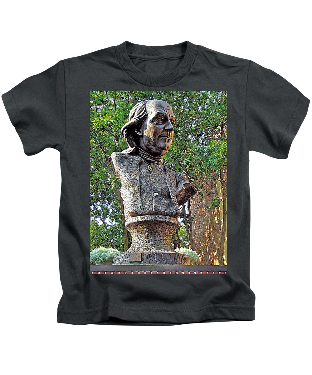 Benjamin Franklin Bust Statue Philadelphia Bronze Kids T-Shirt featuring the photograph Benjamins Bust by Alice Gipson