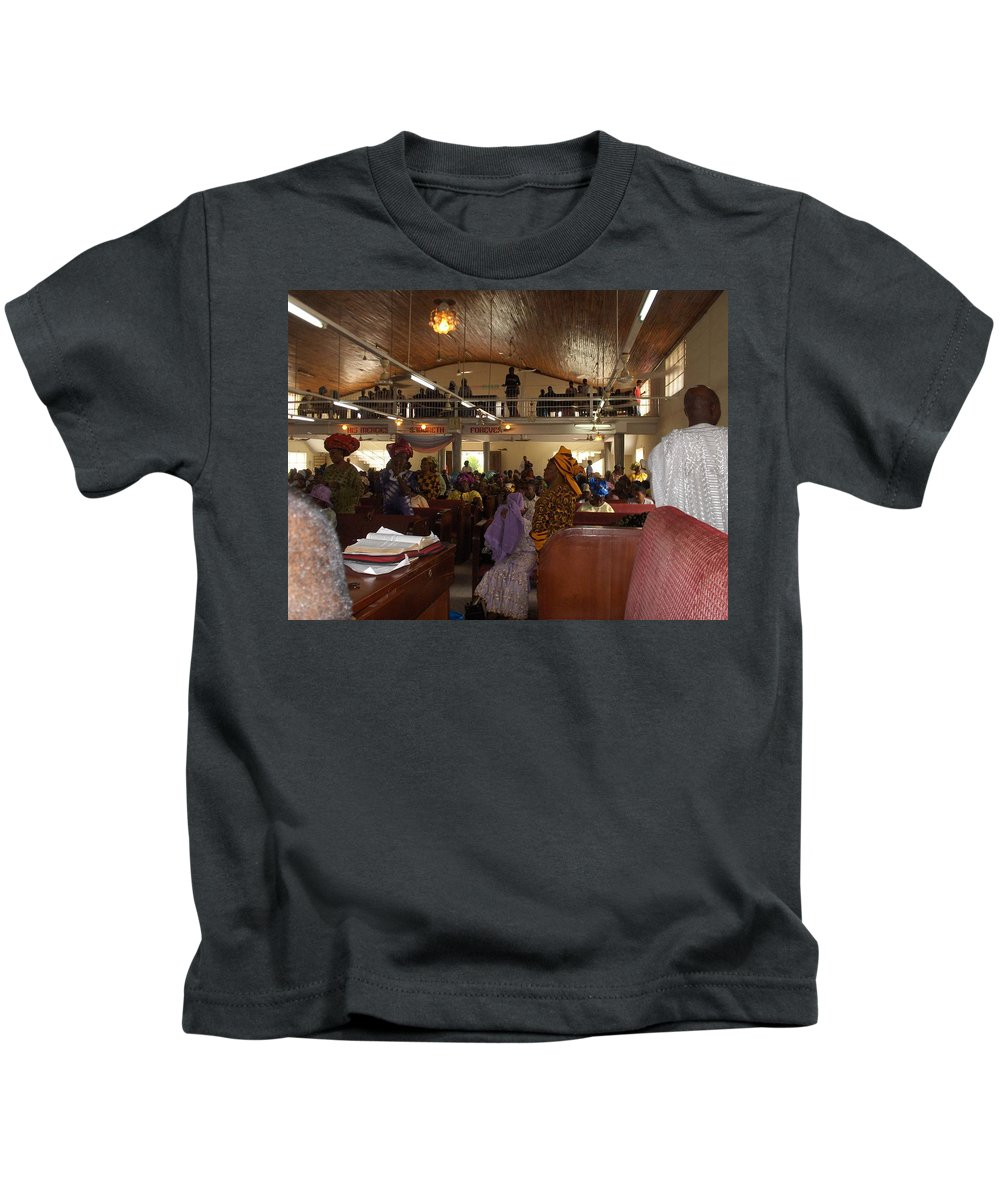 Church Kids T-Shirt featuring the photograph Big Nigerian Church In Lagos by Amy Hosp