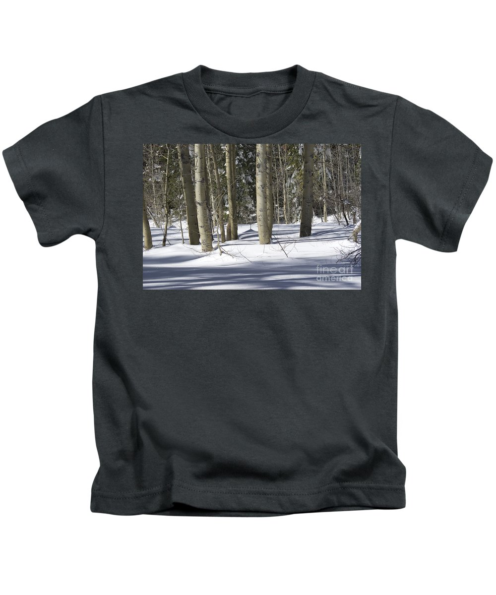 Yosemite Kids T-Shirt featuring the photograph Birch Trees In Snow by Jim And Emily Bush