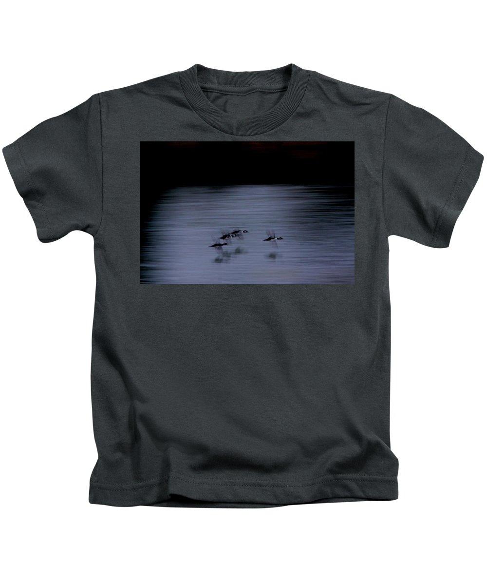 Hooded Merganser Kids T-Shirt featuring the photograph Black And White - Merganser Fliers by Travis Truelove