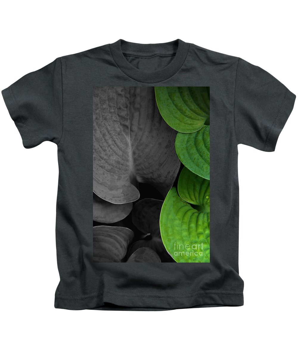 Black And White Kids T-Shirt featuring the photograph Black And White And Green Leaves by Mike Nellums