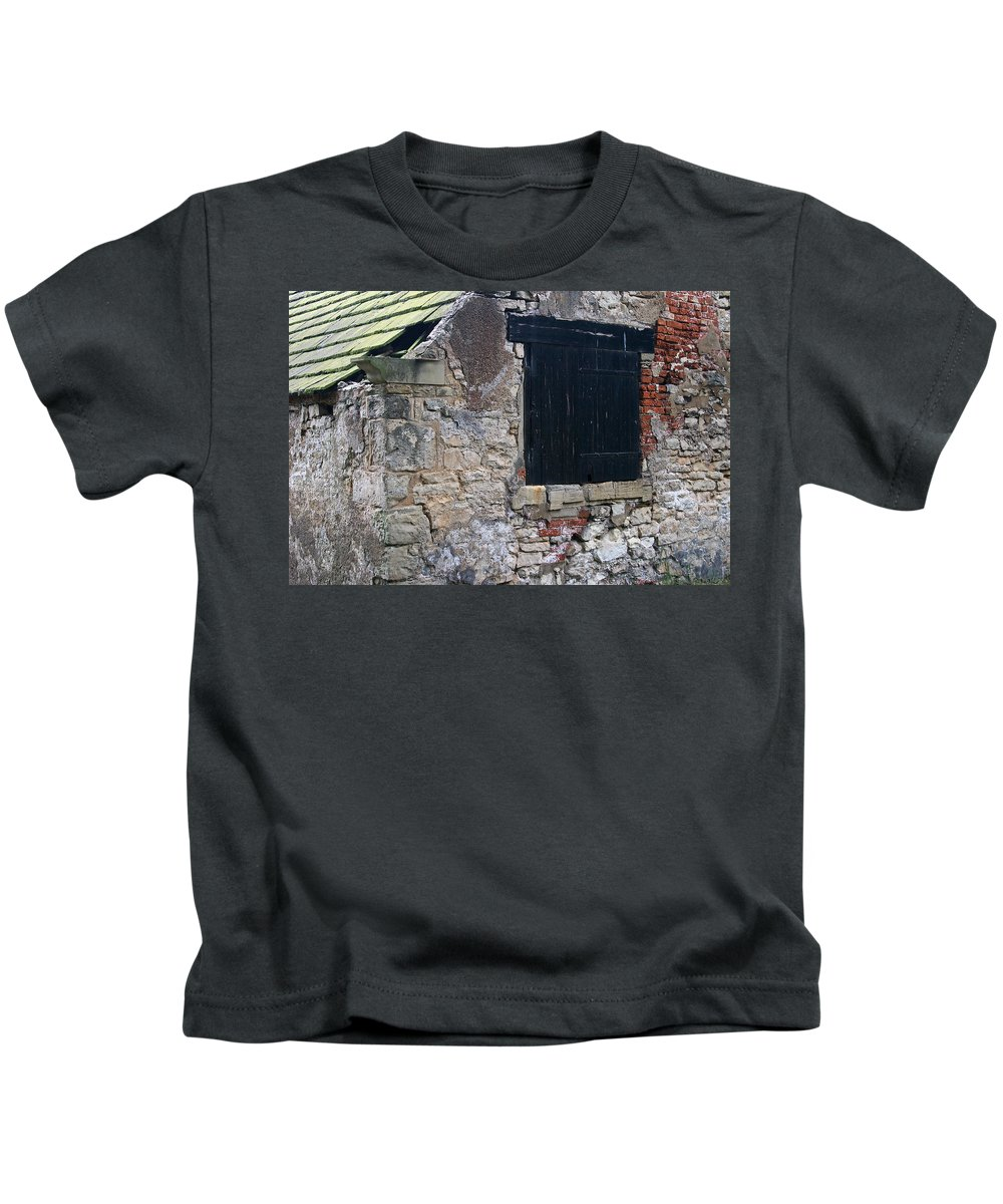 Black Kids T-Shirt featuring the photograph Black Boarded Window by David Kleinsasser